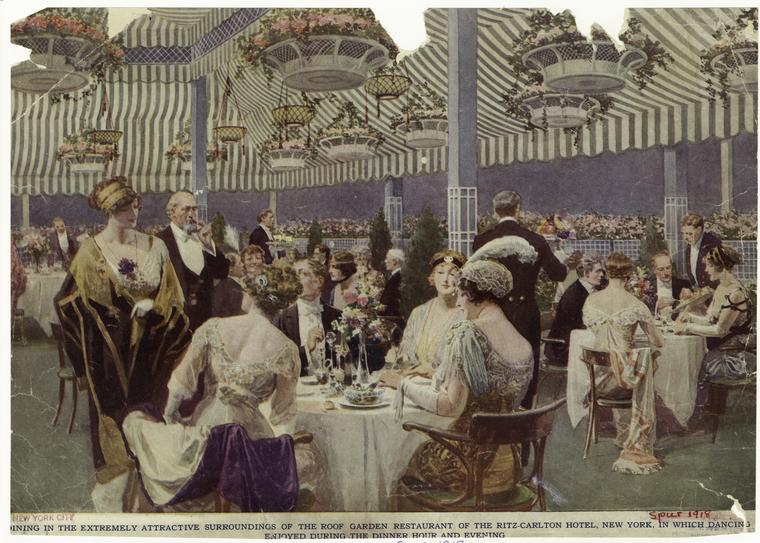 "In the archives of the New York Public Library one can find evidence of summer nights in early twentieth-century Manhattan, featuring wealthy patrons ""dining in the extremely attractive surroundings of the roof garden restaurant of the Ritz-Carlton Hotel, New York, 1918, in which dancing [was] enjoyed during the dinner hour and evening."""