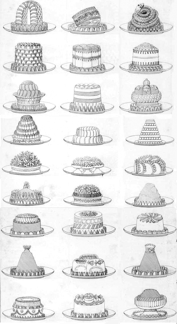 This engraving of Antonin Carême's architectural pastries first appeared in his book <i>L'Art de la cuisine française au XIXe siècle</i>, 1842.