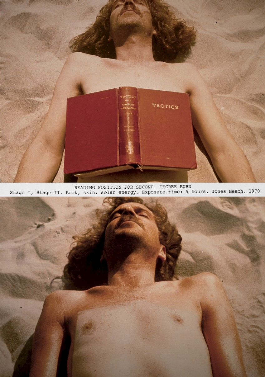 Dennis Oppenheim, <i>Reading Position for Second Degree Burn, Stage I, Stage II. </i> Book, skin, solar energy. Exposure time: 5 hours. Jones Beach, 1970. Copyright: Dennis Oppenheim. Courtesy Dennis Oppenheim Estate.