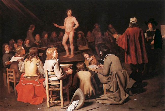 Michael Sweerts, <i> The Drawing Class,</i> 1656-58. Oil on canvas.