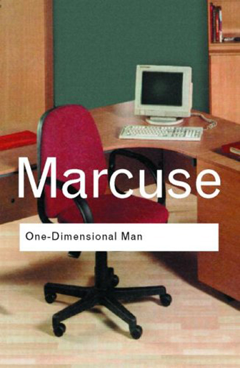 Despite its considerations of automation, Herbert Marcuse's <i>One-Dimensional Man</i> was published in 1964, before computers dominated the workplace. Here, a 2012 cover of the book uses an image of a contemporary office environment.