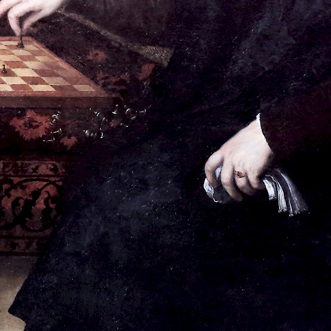 Paris Bordone, <i> Two Chess Players, </i> (detail) 1500-1571.