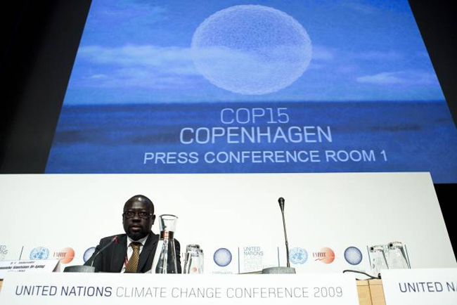 "Sudanese diplomat Lumumba Di-Aping, lead negotiator for the G77 at the 2009 UN Climate Change summit. Di-Aping accused the G20 of attempting to ""colonize the sky."""