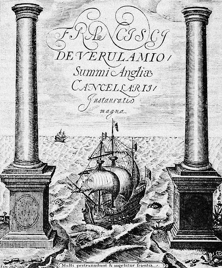 A ship sails on the frontispiece of the first edition of Francis Bacon's book <i>Novum organum scientiarum</i> (1620). The perspective, rather than being rendered from the point of view of the Europeans, is from the standpoint of a viewer who already stands somewhere in the Atlantic.