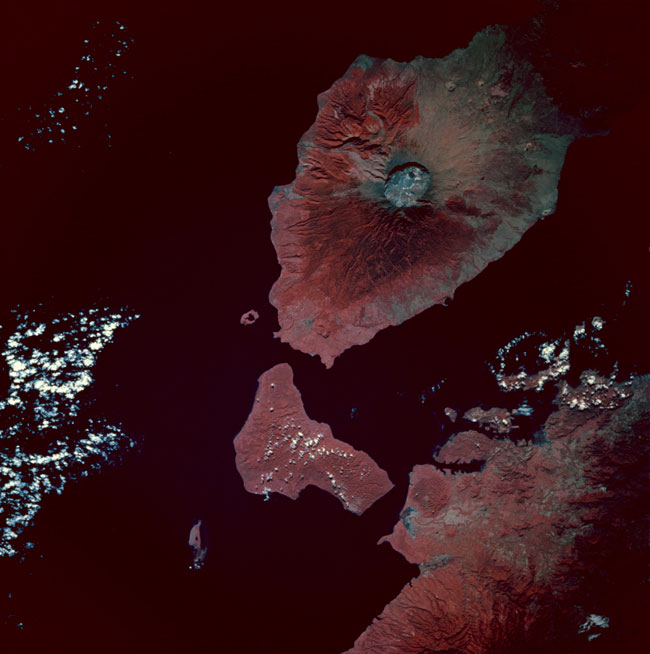 In 1816, Mount Tambora's volcanic activity poured huge amounts of particulate matter into the atmosphere, as indicated by the size of the crater in this satellite image.