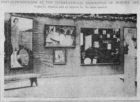 Matisse's works exhibited at the Armory Show, 1913. The artist's <em>The Blue Nude</em> was originally from the Gertrude Stein's collection.