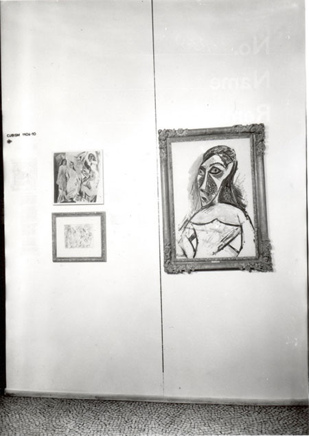 "Picasso's <i>Les Demoiselles d'Avignon</i> and other of the artist's works were hung at the entrance of MoMA's 1936 exhibition ""Cubism and Abstract Art."""
