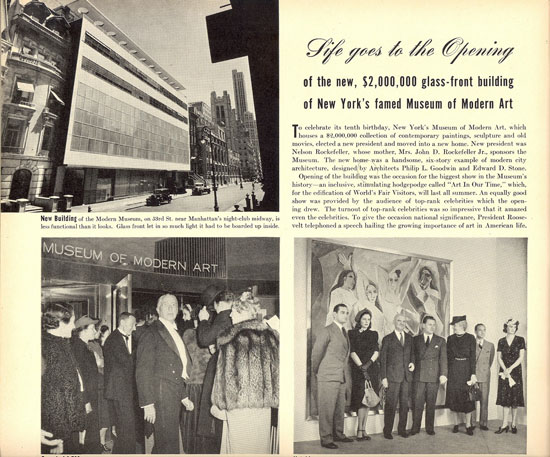 <em>Life</em> magazine covers the inauguration of the MoMA building in 1939. The team assembles in front of the newly acquired painting <em>Les Demoiselles d'Avignon</em>.