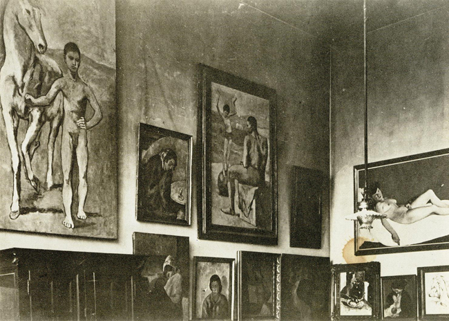 Picasso's painting <em>Boy Leading a Horse</em>, among others, hung unframed at Gertrude Stein's salon, 27 rue de Fleurus, Paris, ca. 1908-9; Photo: Teresa Ehrman. Dr. Claribel and Miss Etta Done Papers, Archives and Manuscripts Collections, The Baltimore Museum of Art.