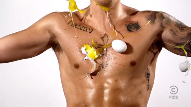 "Eggs pelt Justin Bieber's chest in a commercial for ""The Roast of Justin Bieber,"" which aired on March 30, 2015. Photo: Comedy Central."