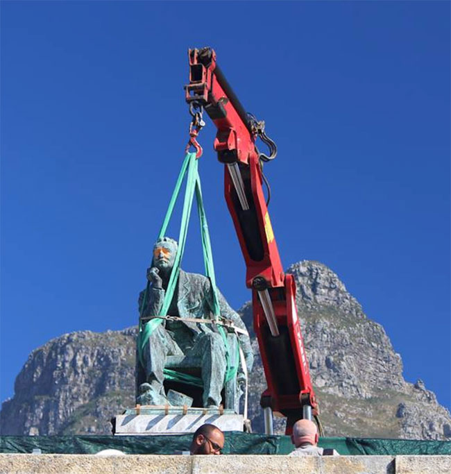 Mining magnate and colonial ruler Cecil John Rhodes's statue is removed from the University of Cape Town campus, 2015.