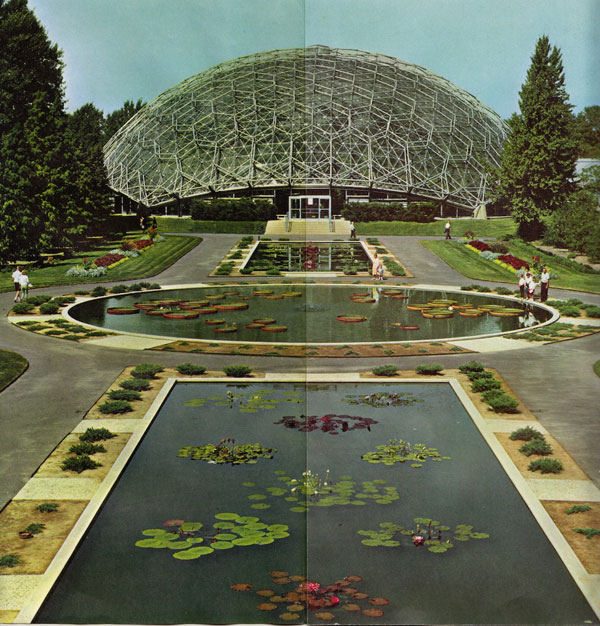 "The Climatron situated in the Missouri Botanical Garden is the first geodesic dome to be used as a conservatory.  The garden, portrayed in the brochure above, is described as ""a center of beauty, pleasure & learning."" Photo: Jack Zehrt and Shaw Camera."