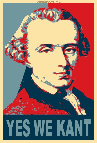 The Yes We Kant meme appropriates the portrait of Obama by Shepard Fairey.