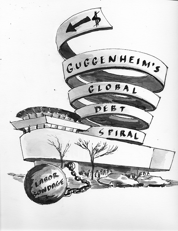 A pamphlet distributed during the intervention at the Guggenheim on February 22, 2014 featured this image as its front cover.