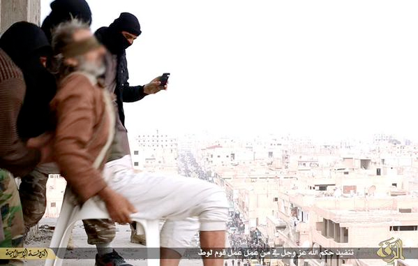 Still from video released by ISIS of a man being thrown off a building for committing the crime of being a homosexual, January 2015.