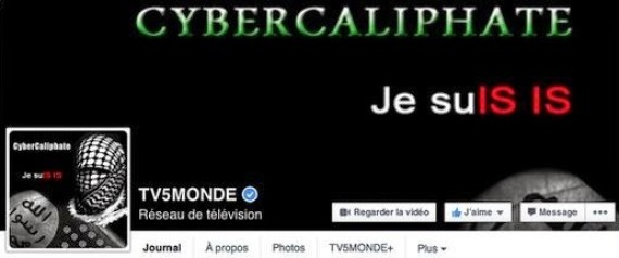 A screenshot shows the Facebook page of TV5 Monde, which was hacked by CyberCaliphate on April 9, 2015.
