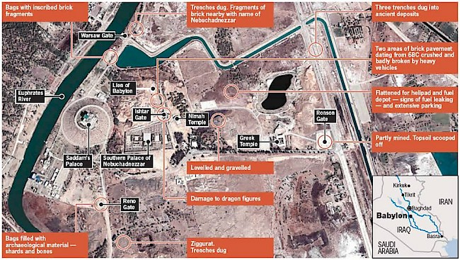 A January 15, 2005 map from <em>The Guardian</em> shows the US military base built on top of the remnants of the city of Babylon.