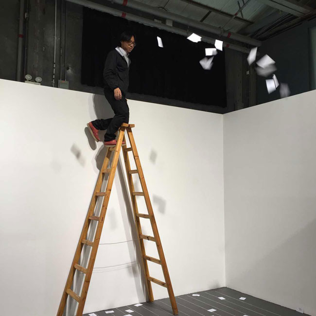 Reenactment of Qian Weikang's <em>Ladder Poem (around 1990)</em>, 2015.