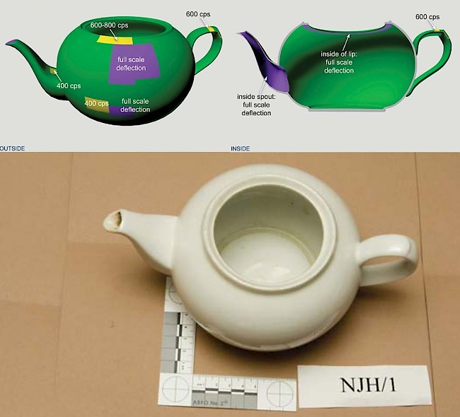 A 3-D graphic made by London's Metropolitan police showing polonium contamination in Alexander Litvinenko's teapot, from green (low) to purple (high).