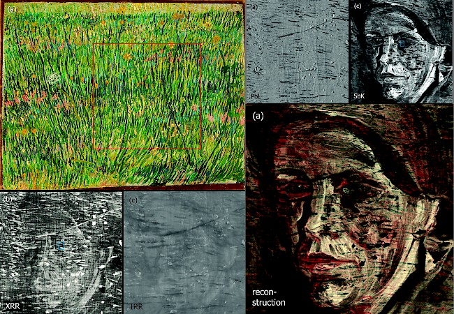"Vincent van Gogh, <i>Patch of Grass,</i> Paris, April–June 1887, oil on canvas, with various radiographic strategies to reconstruct the hidden face under the surface layer of paint. Collage from sources in: Joris Dik, Koen Janssens, Geert Van Der Snickt, et al., ""Visualization of a Lost Painting by Vincent van Gogh Using Synchrotron Radiation Based X-ray Fluorescence Elemental Mapping,"" <i>Analytical Chemistry</i>, vol. 80, no. 16 (August 15, 2008): 6436–6442."