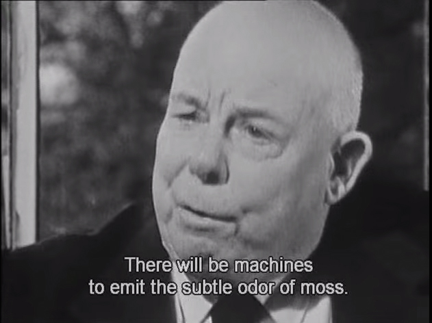 Jean Renoir reflects on progress and technology in the filmed interview <em>Jean Renoir Discusses His Art</em> (Jean Renoir parle de son art: Entretien avec Jacques Rivette), 1961.