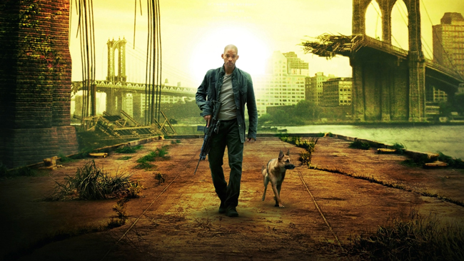Actor Will Smith and a dog roam seemingly alone on Earth in the movie <em>I Am Legend</em> (2007).