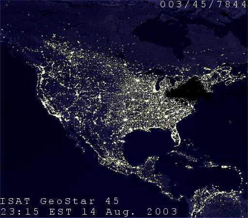 A satellite image of North America from August 14, 2003 shows the northeast blackout, the second-most widespread blackout in history at the time. A software bug in the alarm system at a control room of the FirstEnergy Corporation in Ohio was the blackout's primary cause. Image: NASA.