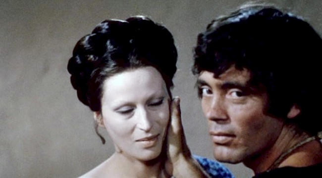 Silvana Mangano and Pier Paolo Pasolini share a scene in Pasolini's 1967 production of <em>Oedipus Rex</em>.
