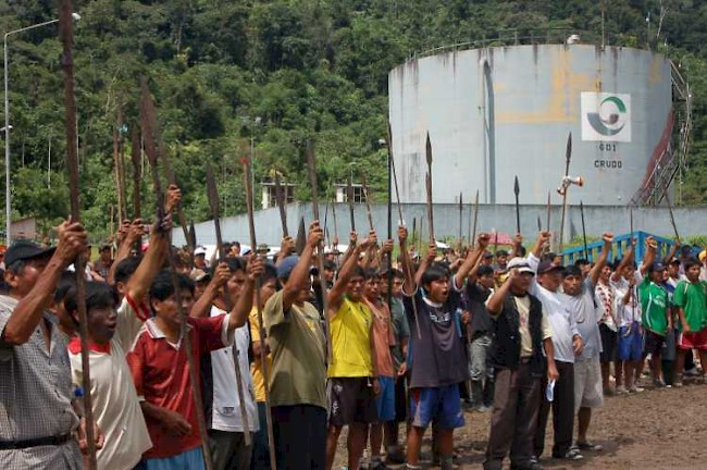 Awajun-Wampis protest in Bagua, northern Peru. Police violence sent many of the protesters to the hospital, despite a peaceful blockade of the Corral Quemado Bridge, June 5, 2009.