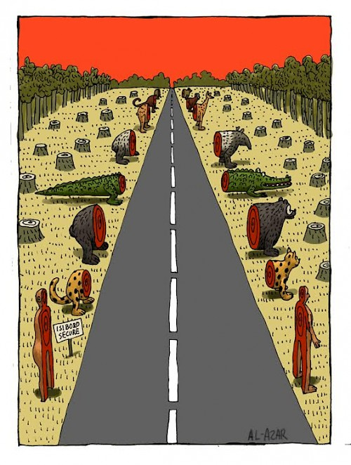 "The cartoon <em>Paving Bolivia</em> shows the road across TIPNIS, which stands for ""Territorio Indígena y Parque Nacional Isiboro Sécure."""