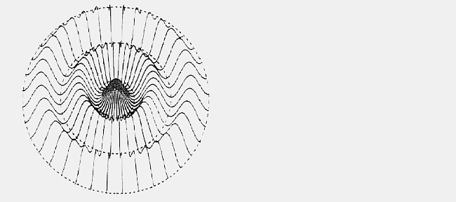 This schematic computer-generated ripple is designed to test the perception of concave and convex in two-dimensional images.